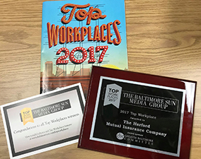 The award we received for being named a 2017 Baltimore Sun Top Workplace.